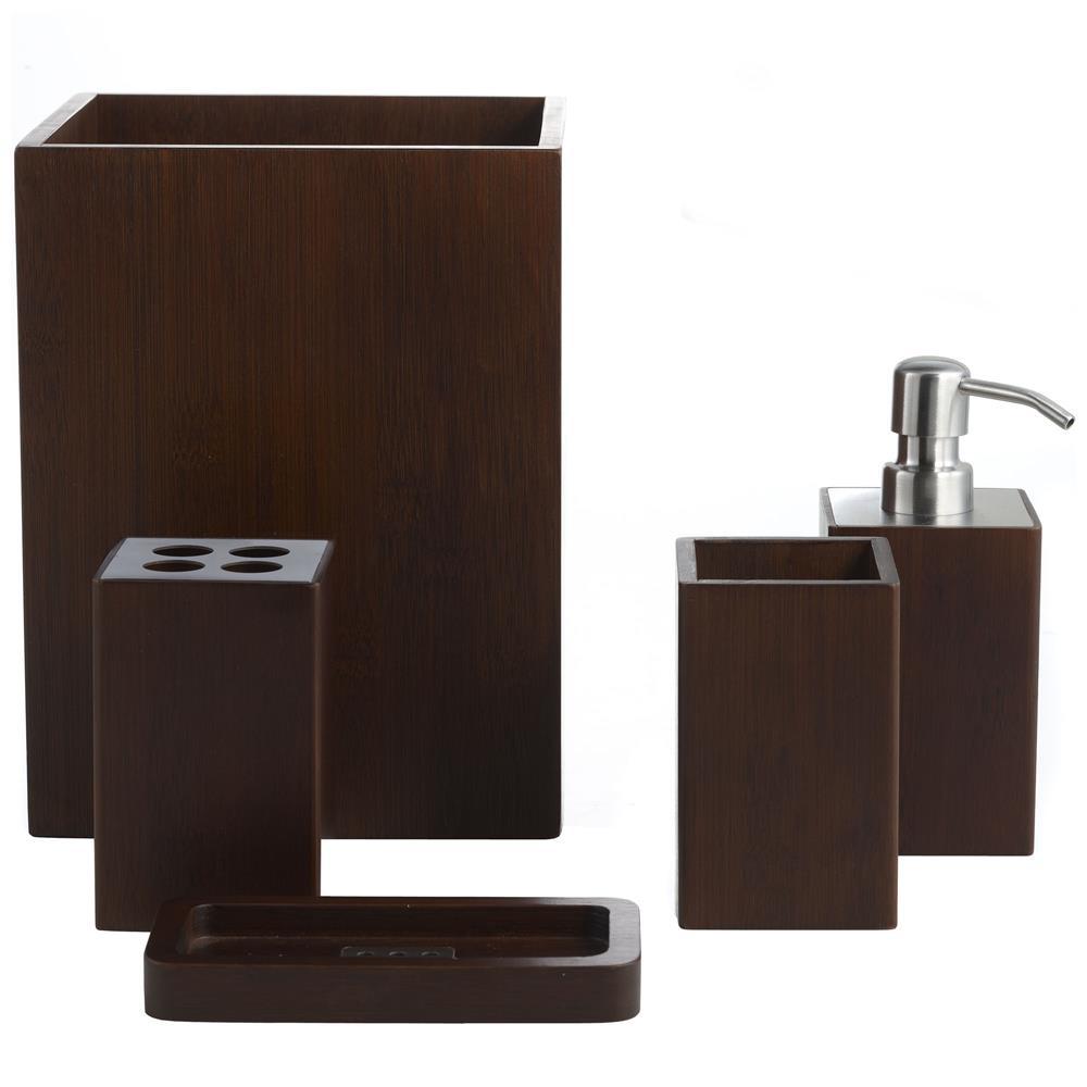 Brown bathroom accessories