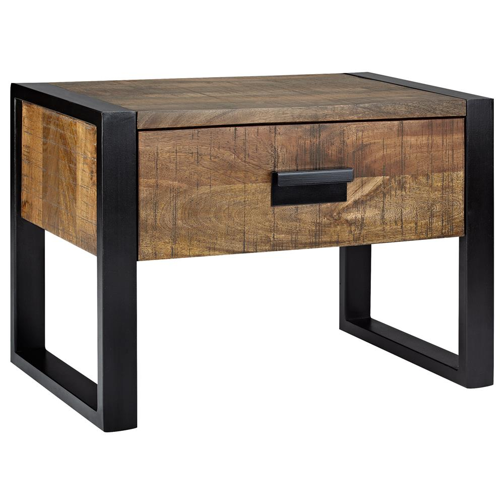 Atelier industrial chic wood nightstand with metal - Table bois et metal industriel ...