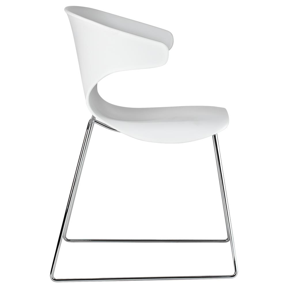 atelier eclectic plastic dining chair with metal legs