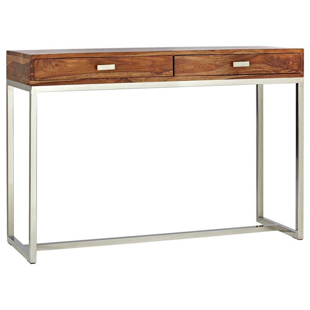 Atelier Scandinavian Wood Console Table With Stainless