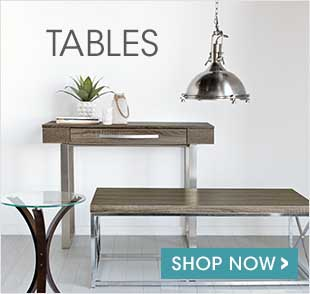 All types of practical tables : shop for dining tables, coffee tables, side tables, console tables, bedside tables and nesting tables.