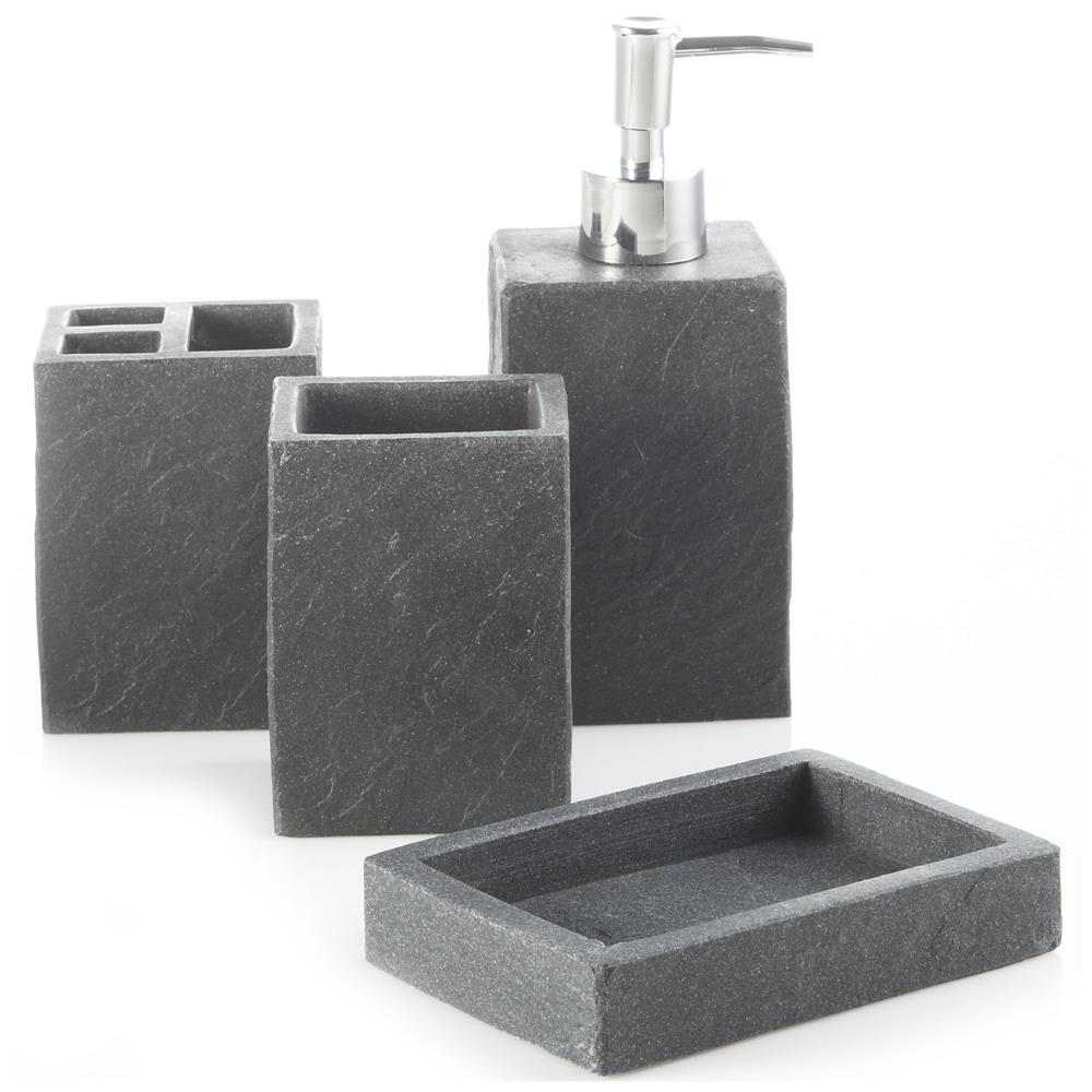 Soap dish bath sets bath for Charcoal bathroom accessories