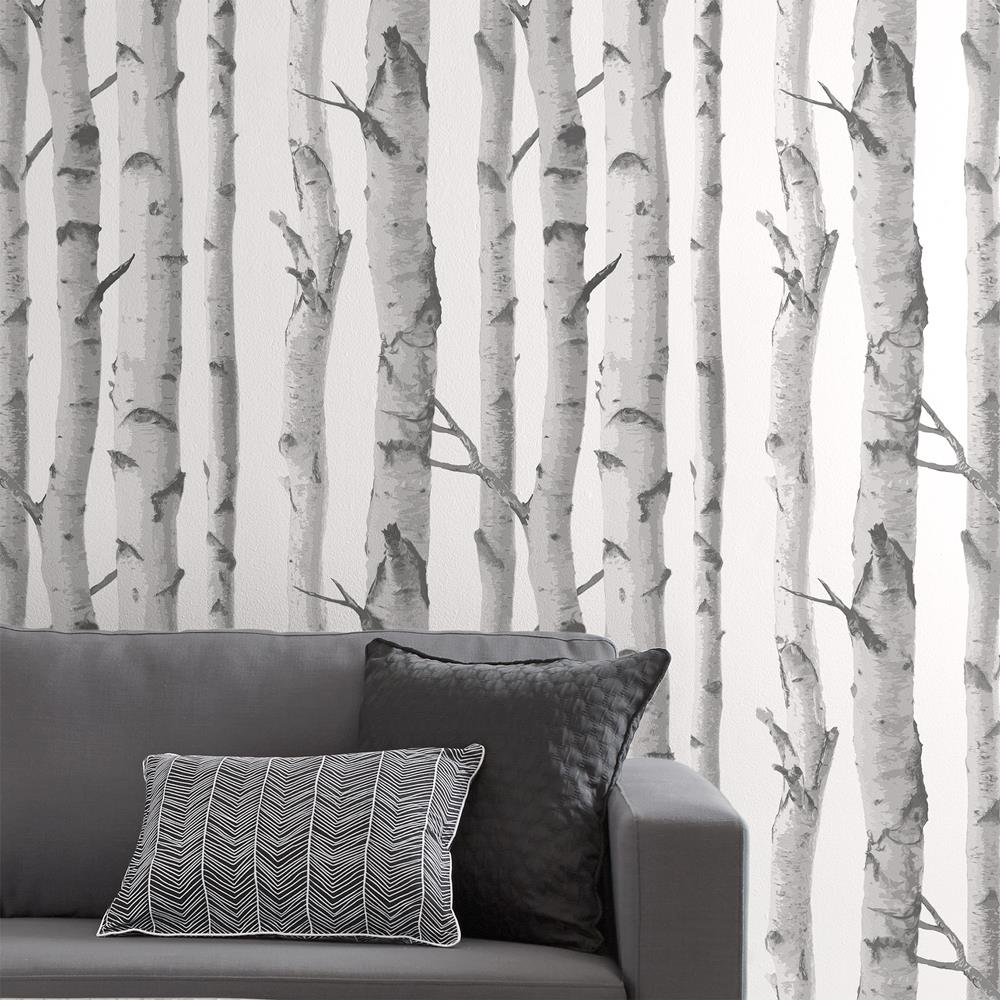 Wallpaper double roll wallpaper wall decor for Black and white tree wallpaper mural