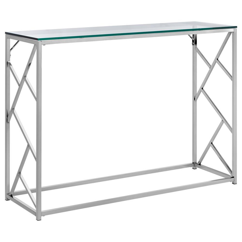 console table with tempered glass top and chrome legs